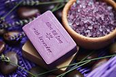foto of lavender plant  - bar of lavender soap with bath salt  - JPG