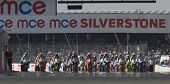 27 Sept 2009; Silverstone England:  riders line up for the start of race 1 of round 11,  at the MCE