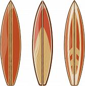wooden surfboards isolated
