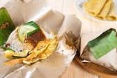 stock photo of nasi  - Malaysian traditional food coconut milk rice nasi lemak - JPG