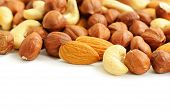 stock photo of brazil nut  - Background from various kinds of nuts  - JPG