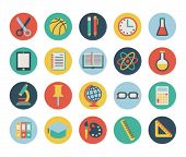 stock photo of scissors  - set of flat school icons - JPG