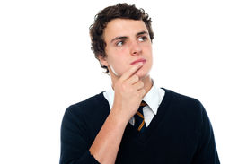 picture of thinkers pose  - An intellectual student trying to recollect the answer isolated over white background - JPG