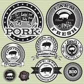 picture of pork  - vector set of labels with pig and pork - JPG