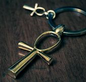 stock photo of ankh  - Egyptian ankh cross on a dark background - JPG