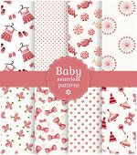 stock photo of teddy  - Collection of baby seamless patterns in delicate white and pink colors - JPG