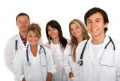 foto of medical staff  - Group of young doctors isolated over white - JPG