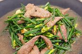 foto of liver fry  - Closeup of Stir fried pork liver with vegetable - JPG