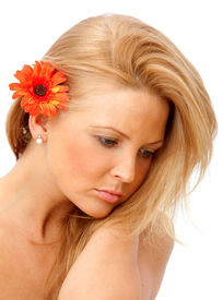 picture of sad face  - Bautiful nostalgic woman with a flower isolated over white - JPG