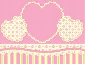 stock photo of eyeleteer  - Vector Victorian background copy space with hearts - JPG