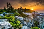 foto of virginia  - Sunrise at Bear Rocks Preserve in Dolly Sods Wilderness Monongahela National Forest West Virginia - JPG