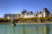 pic of royal palace  - Beautiful Park with pond of ancient Fontainebleau palace - JPG