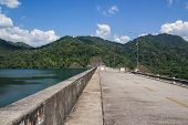 foto of dam  - Wachiralongkorn Dam or Khao Laem Dam Kanchanaburi Thailand - JPG