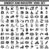 stock photo of turbines  - set of 100 energy icons - JPG