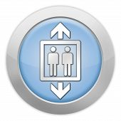pic of elevator icon  - Icon Button Pictogram with Elevator Lift symbol - JPG