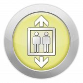 image of elevator icon  - Icon Button Pictogram with Elevator Lift symbol - JPG