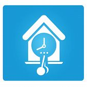stock photo of pendulum clock  - pendulum clock in blue button - JPG