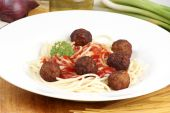 Spaghetti With home made Tomato Sauce And Meatballs poster