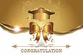 image of school building  - Printable graduation card with golden ribbon  - JPG