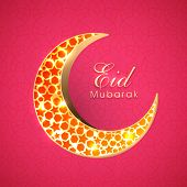 stock photo of eid festival celebration  - Beautiful red stars decorated golden crescent moon on red background for muslim community festival Eid Mubarak celebrations - JPG