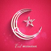 picture of crescent-shaped  - Arabic islamic calligraphy of silver text Eid Mubarak in crescent moon and star shape on pink background for muslim community festival celebrations - JPG