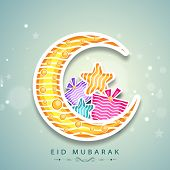 picture of eid festival celebration  - Muslim community festival Eid Mubarak celebrations with crescent moon - JPG