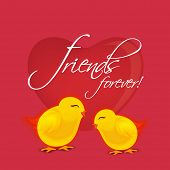 image of  friends forever  - Cute little chicks on glossy heart shape decorated red background with stylish text Friends Forever on occasion of Happy Friendship Day celebrations - JPG