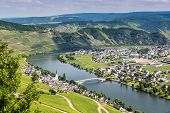 stock photo of moselle  - Famous Moselle Sinuosity in Trittenheim, Germany, Europe