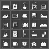 stock photo of televisor  - Set of furniture silhouettes  and home accessories - JPG