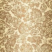Image of baroque pattern with birds and flowers, gold.
