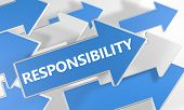 stock photo of responsible  - Responsibility 3d render concept with blue and white arrows flying over a white background - JPG
