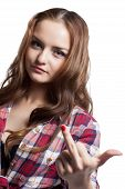 pic of obscene gesture  - Portrait of pretty girl showing obscene gesture - JPG