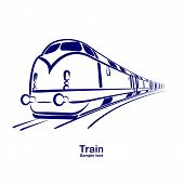 foto of passenger train  - passenger railway speed train move icon vector - JPG