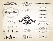 stock photo of containers  - This image is a vector set that contains calligraphic elements borders page dividers page decoration and ornaments - JPG