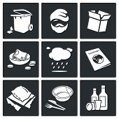 picture of scum  - roofless Vector Isolated Flat Icons collection on a black background - JPG
