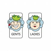foto of female toilet  - male and female toilets sign isolated on a white background - JPG
