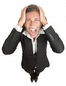 stock photo of adversity humor  - Screaming businesswoman in suit isolated on white background - JPG