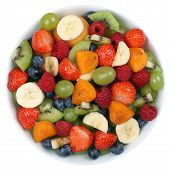 pic of apricot  - Fruit salad in a bowl with fruits like strawberries kiwi apricots and blueberries from above - JPG