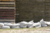 pic of sandbag  - sandbags to protect buildings on the beach of the Black Sea in Bulgaria  - JPG