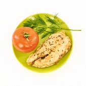 pic of redfish  - Fish stew and fresh vegetables on a white background - JPG
