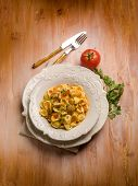 stock photo of edible mushroom  - orecchiette with cep edible mushroom - JPG