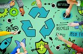 image of reuse recycle  - Recycle Reduce Reuse Eco Friendly Natural Saving Go Green Concept - JPG