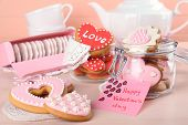 foto of tea bag  - Heart shaped cookies for valentines day and tea bags on wooden background - JPG