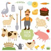 picture of dairy barn  - set of vector illustration of farm animals and related items - JPG