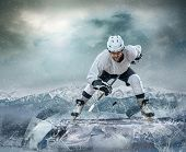 picture of ice hockey goal  - Ice hockey player on the ice - JPG
