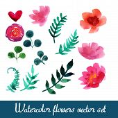 foto of floral bouquet  - Set of beautiful watercolor flowers and leaves on a white background for your design - JPG