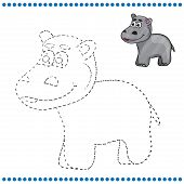 foto of hippopotamus  - Connect the dots and coloring page  - JPG