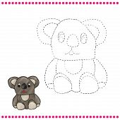 foto of koala  - Connect the dots and coloring page  - JPG