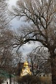 picture of chapels  - beautiful landscape with old chapel in a monastery in Moscow - JPG