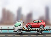 stock photo of wreckers  - Tow truck loaded up the car against the background of the modern city to the beach - JPG